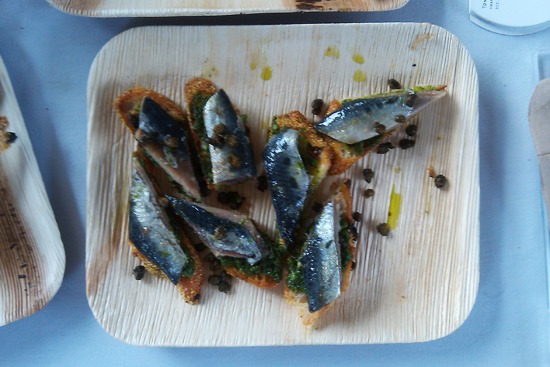 Marinated Sardine Crostini with Salsa Verde and Fennel by Tony Mantuano - Saveur's First Annual BBQ, Dresses & Appetizers