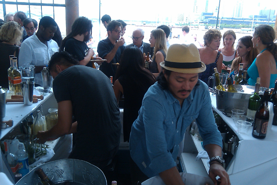 Mixologist Making Mixed Drinks and Pouring Wine - Saveur's First Annual BBQ, Dresses & Appetizers