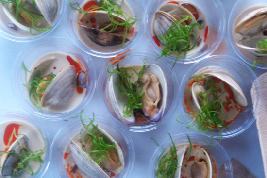 Steamed Littleneck Clams with White Gazpacho by Wylie Dufresne of WD-50 - Saveur's First Annual BBQ, Dresses & Appetizers