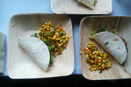 Roast Suckling Pig Taco with Corn Salad by Jimmy Bradley and Bill McDaniel of The Red Cat - Saveur's First Annual BBQ, Dresses & Appetizers