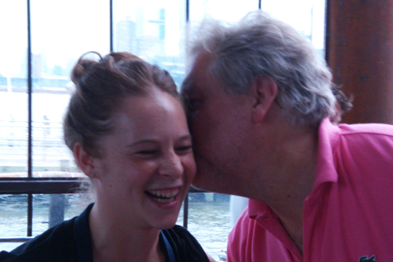 Top Chef Masters, Jonathan Waxman plants a kiss on his chef. Saveur's First Annual BBQ, Dresses & Appetizers
