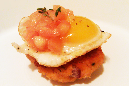 Salmon Croquette and Quail Egg Image