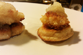 Picture of Chicken and Waffles with Apple Compote - Dresses & Appetizers