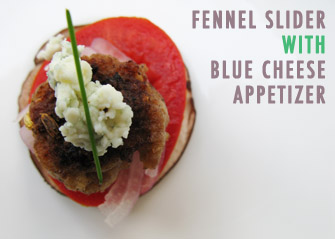 Fennel Burger Appetizer with Blue Cheese and Mushrooms Recipe