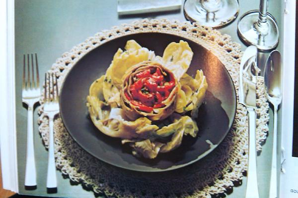Gourmet Magazine, October 1974: Artichoke Andalouse Picture- Dresses & Appetizers