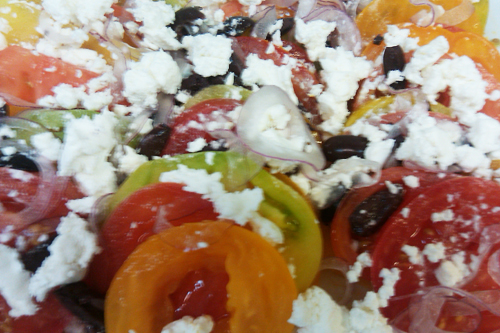 heirloom tomato and goat cheese salad with olives and basil recipe - Dresses & Appetizers
