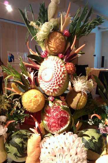 Fruit Sculpture Picture, Plate by Plate Charity Event - Dresses & Appetizers