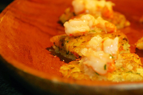 Mini Bite: Shrimp on a Potato Pancake Recipe - Dresses & Appetizers