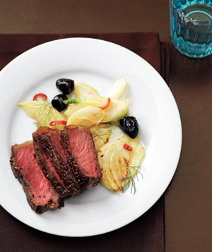 Steak with fennel and olives, Food and Wine - Dresses & Appetizers