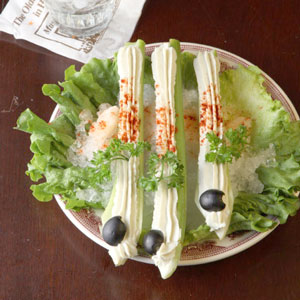 cheese-stuffed celery appetizer, Dresses & Appetizers
