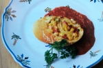 Creamed Corn, Scallion and Roasted Red Pepper Roulade, Vintage Gourmet Magazine, Dresses & Appetizers