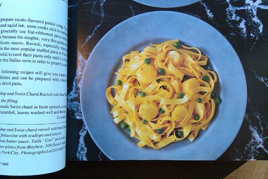 Fettucini with scallops in saffron butter sauce, February 1986 Gourmet Magazine, Dresses & Appetizers