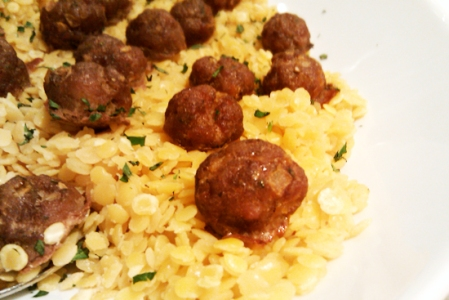 Golden Lentils and Mini Lamb Meatballs