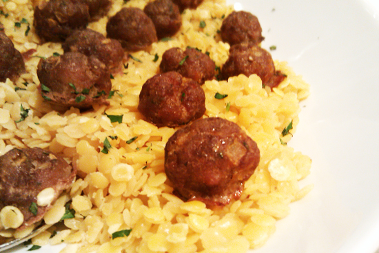 Lamb Meatballs and Yellow Lentil Recipe, Dresses & Appetizers