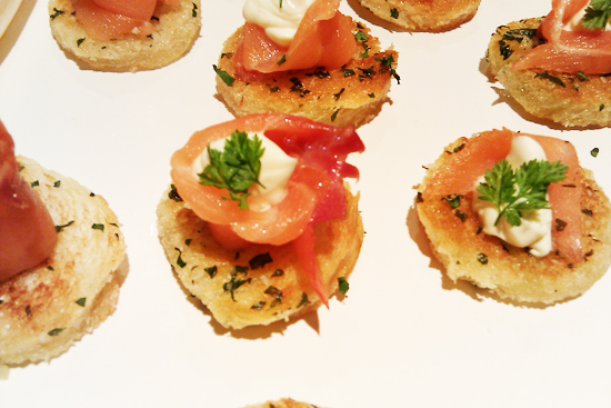 Smoked Salmon Appetizer with Chervil Cream on Herb Crostini