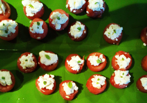 Dinner party apps refreshing baby watermelon cups with feta and watermelon salt basil and feta cheese appetizer recipe forumfinder Gallery