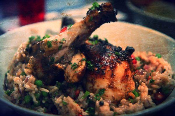 Cardamom-Yogurt Marinated Chicken with Pomegranate Rice Recipe