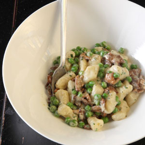 Gnocchi with Chanterelle Peas and Cream Recipe