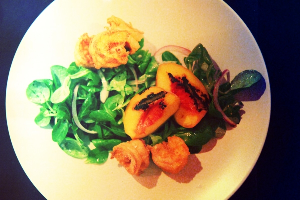 Grilled Peach Salad with Fried Shrimp and Sriracha Vinaigrette  Recipe