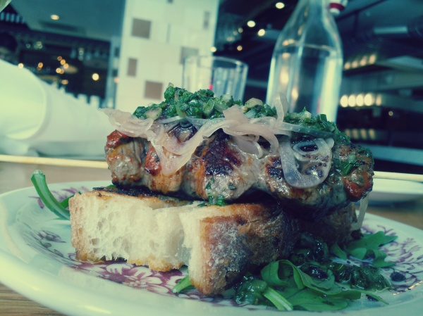 Food Porn: Grilled Lamb with Herb Puree, Pickled Onions and Crostini