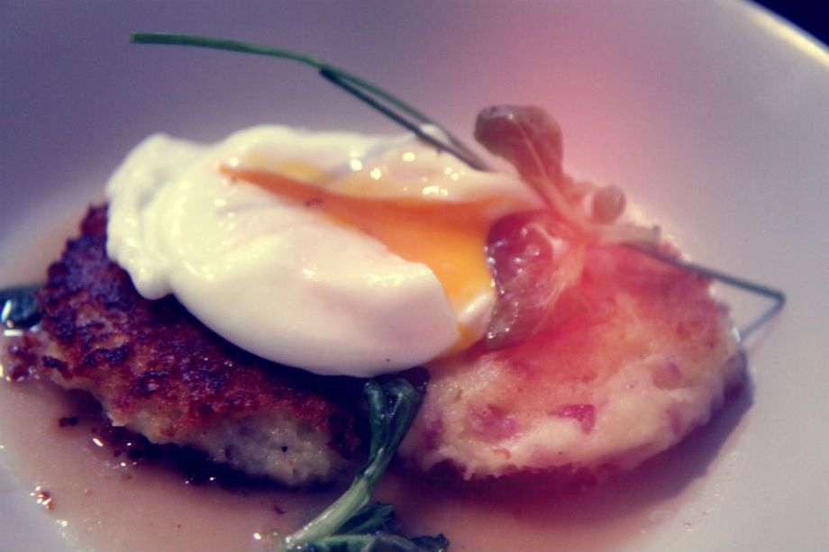 Photo Slam: Poached Eggs on Potato Pancakes and Lobster Sauce