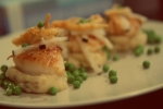 Seared Scallops on Potato Puree with Black Radish and Fried Hearts of Palm