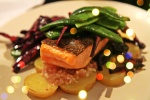 Seared Trout , Drunken Potatoes and Shallots with Snow Peas and Red Cabbage