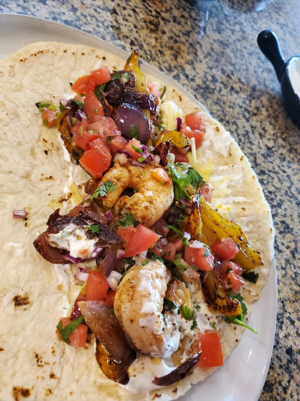 messy shrimp Taco